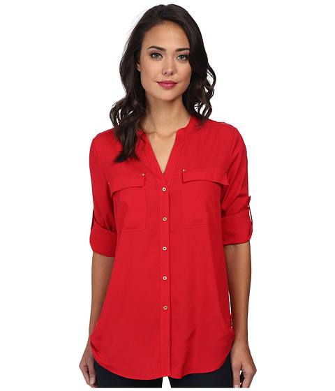 Calvin Klein - Crew Neck Roll Sleeve Top (Rouge) Women's Clothing