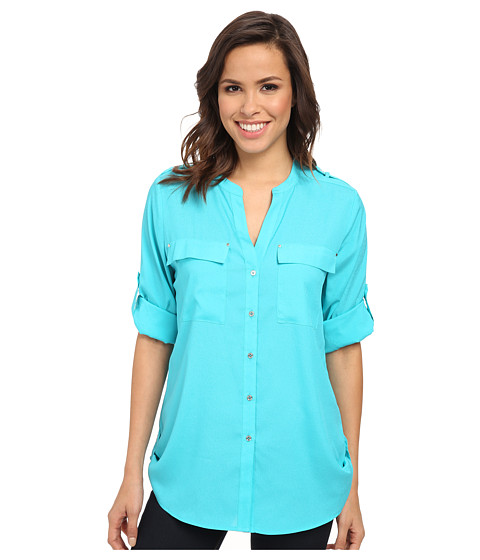 Calvin Klein - Crew Neck Roll Sleeve Top (Cyan) Women