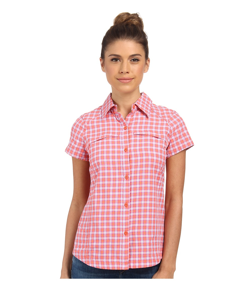Columbia - Silver Ridge Multiplaid S/S Shirt (Coral Flame Small Ripstop) Women's Short Sleeve Button Up