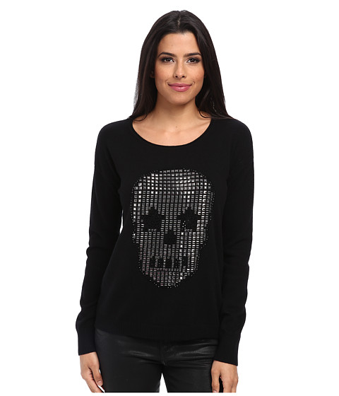 Autumn Cashmere - Studded Skull w/ Back Vent Sweater (Black) Women's Sweater