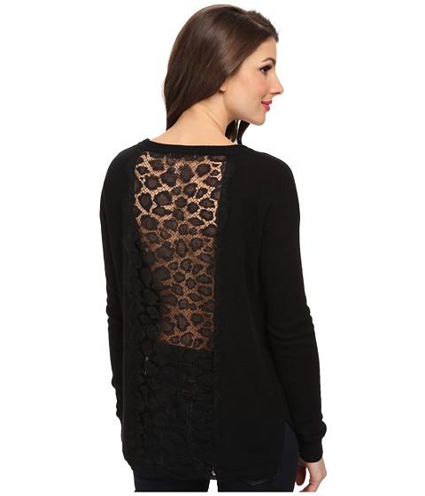 Autumn Cashmere - Hi Lo w/ Leopard Lace Sweater (Black) Women