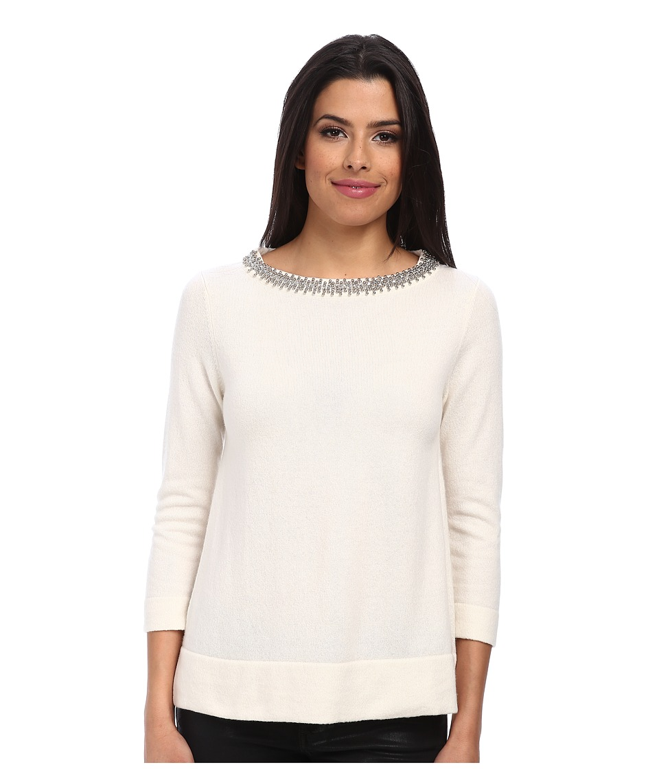 Image of Autumn Cashmere - Jeweled Neck Trapeze Sweater (White) Women's Sweater