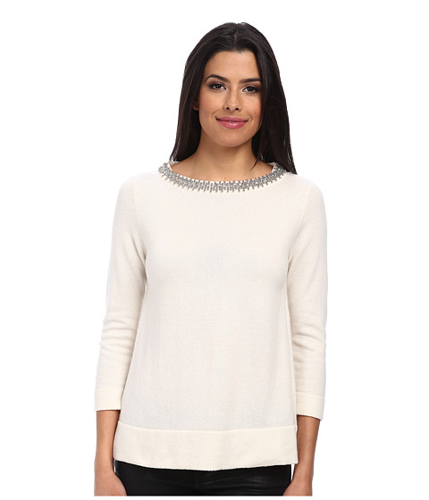 Autumn Cashmere - Jeweled Neck Trapeze Sweater (White) Women