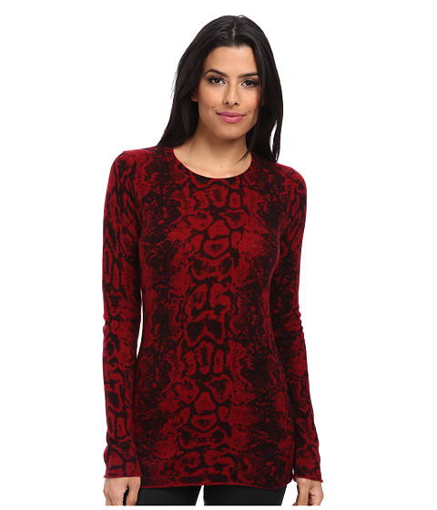Autumn Cashmere - Snake Print Crew Sweater (Cabernet Combo) Women