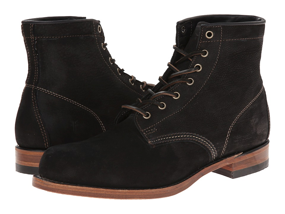 Frye - Arkansas Mid Leather (Black Suede) Men's Lace-up Boots
