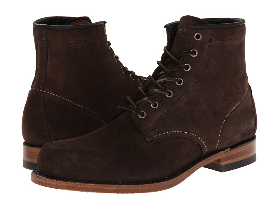 Frye Arkansas Mid Leather (Dark Brown Suede) Men's Lace-up Boots