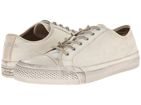 Frye - Greene Low Lace (White Painted Canvas) Men