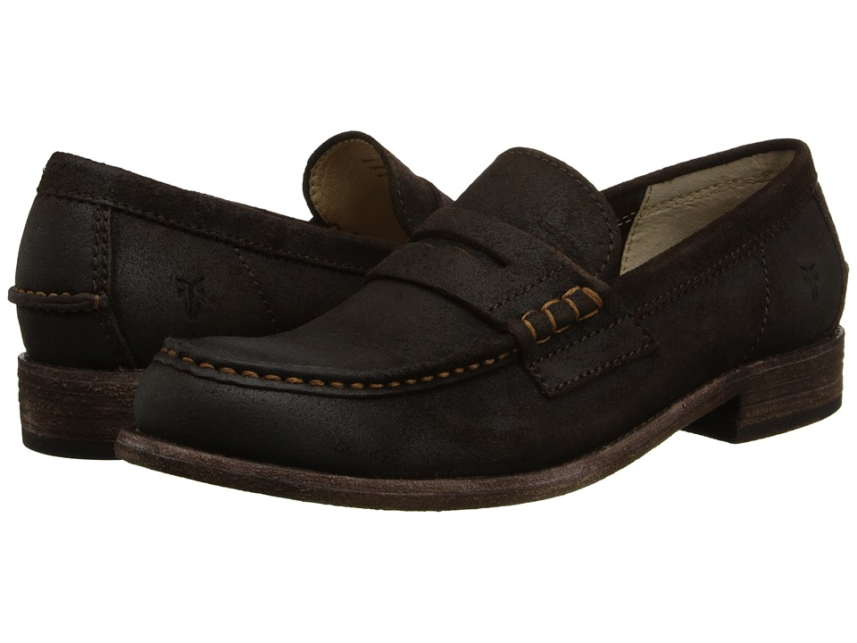 Frye - Greg Leather Penny (Dark Brown Waxed Suede) Men's Slip on Shoes