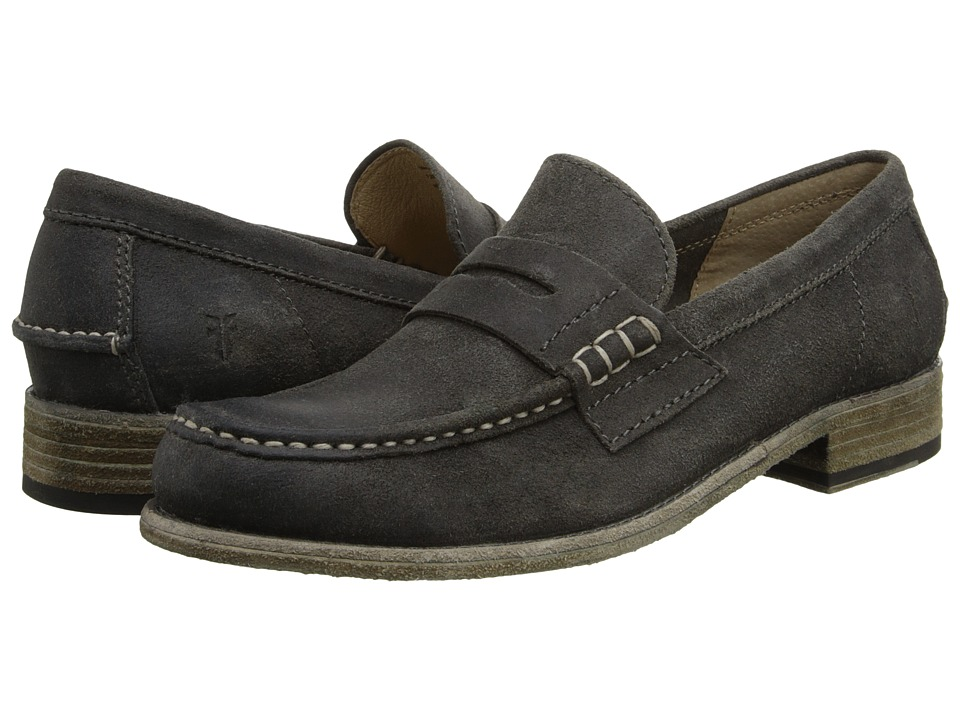 Frye - Greg Leather Penny (Grey Brown Waxed Suede) Men's Slip on Shoes