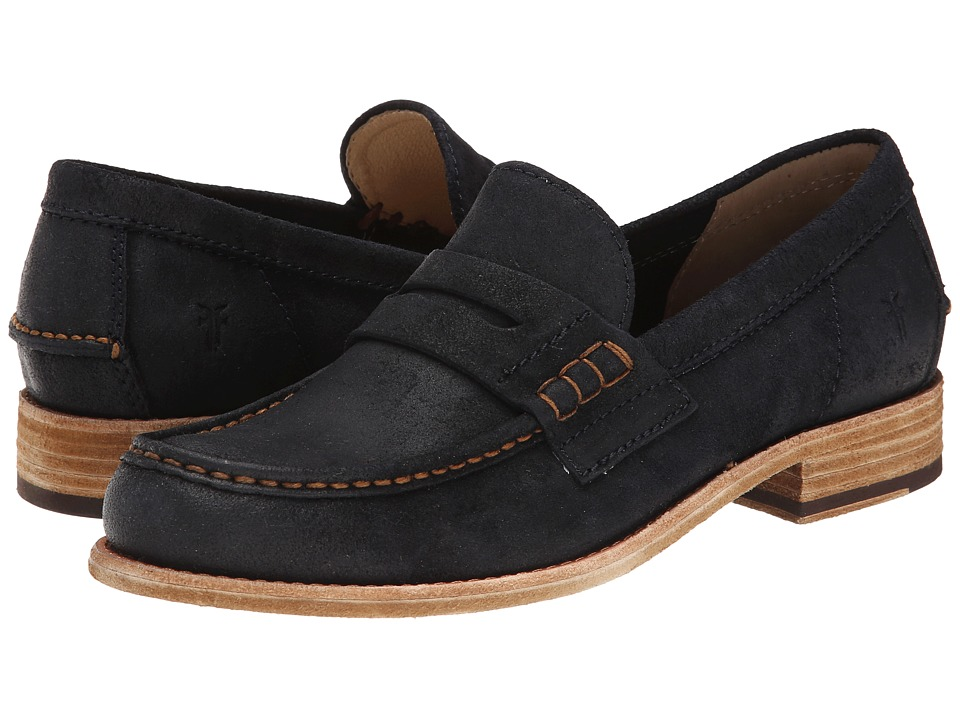 Frye Greg Leather Penny (Indigo Brown Waxed Suede) Men
