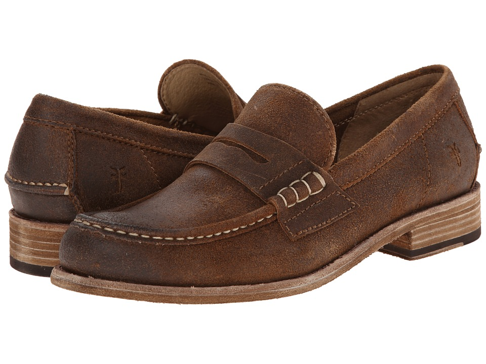 Frye - Greg Leather Penny (Tan Brown Waxed Suede) Men's Slip on Shoes