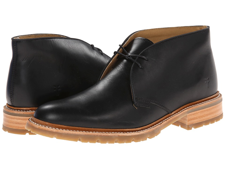 Frye James Lug Chukka (Black Smooth Full Grain) Men