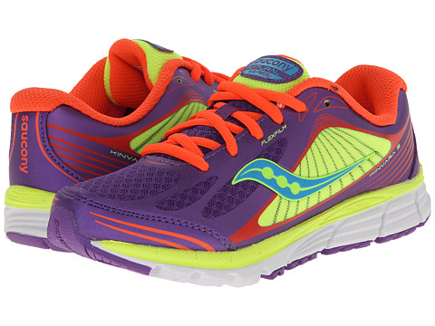 Saucony Kids - Kinvara 5 (Little Kid) (Purple/Coral/Citron) Girls Shoes