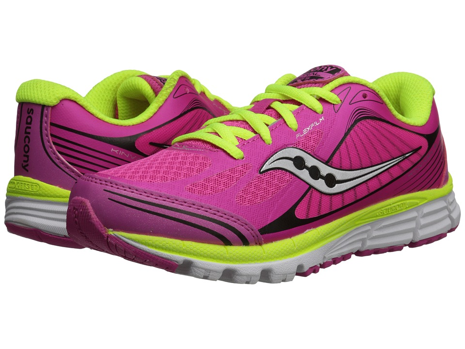 Saucony Kids Kinvara 5 (Little Kid) (Pink/Black/Citron) Girls Shoes