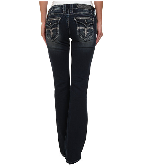 Rock Revival - Leah B19 Sequin Embellished Boot Cut Jean (Dark Blue) Women
