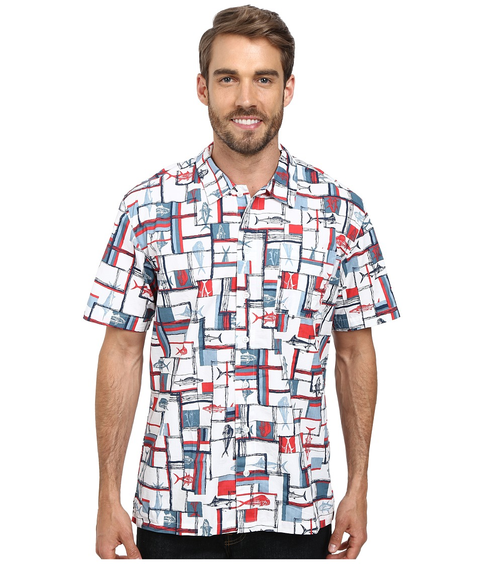 Columbia - Trollers Best S/S Shirt (Sunset Red Retro Stripe Gamefish Print) Men's Short Sleeve Button Up