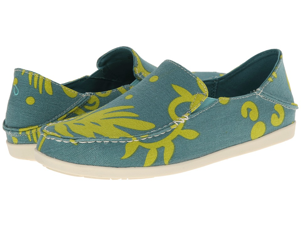 OluKai - Nohea Canvas Print (Dark Cyan/Sweet Lime) Women's Slip on Shoes