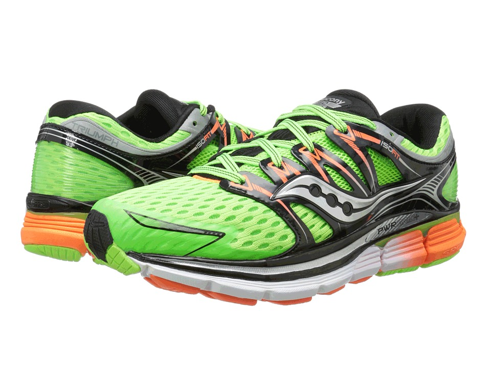 Saucony - Triumph ISO (Slime/Black/Viziorange) Men's Running Shoes