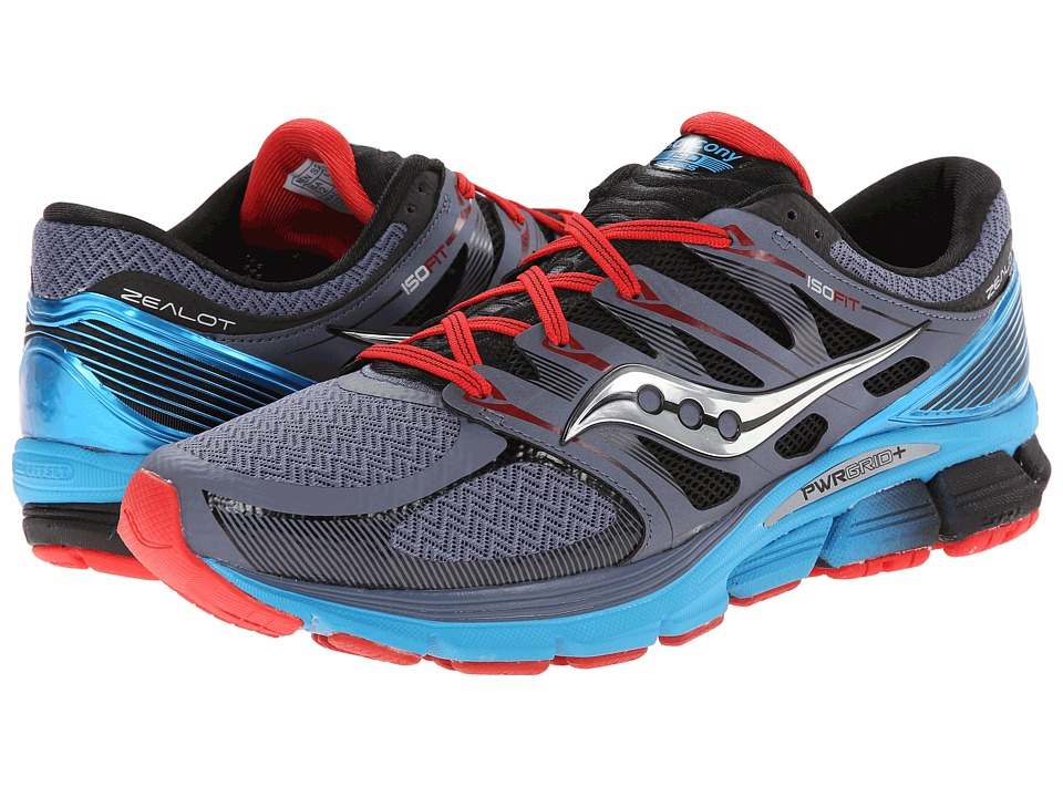 Saucony - Zealot ISO (Grey/Blue/Red) Men's Running Shoes