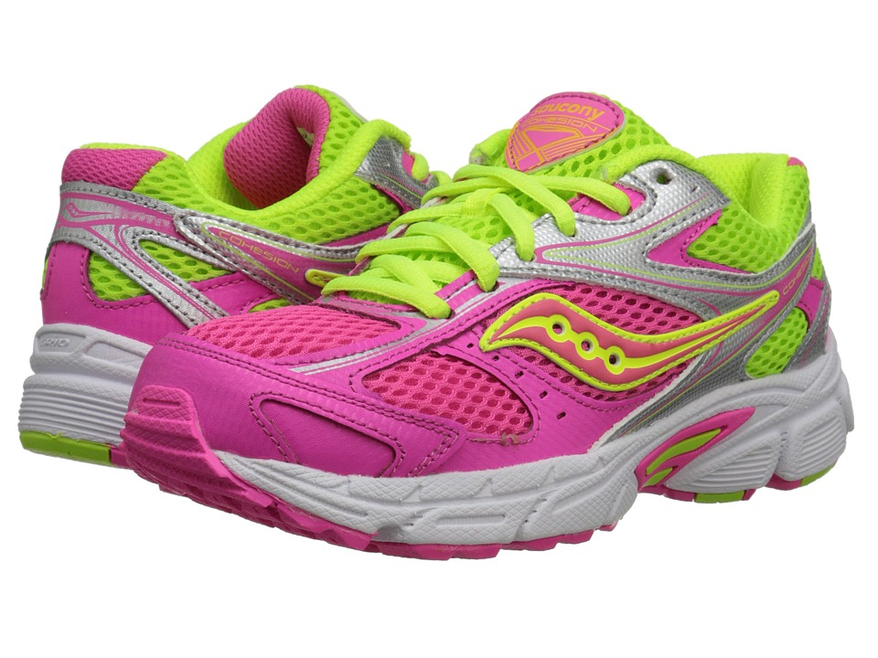 Saucony Kids - Cohesion 8 LTT (Big Kid) (Pink/Citron) Girls Shoes