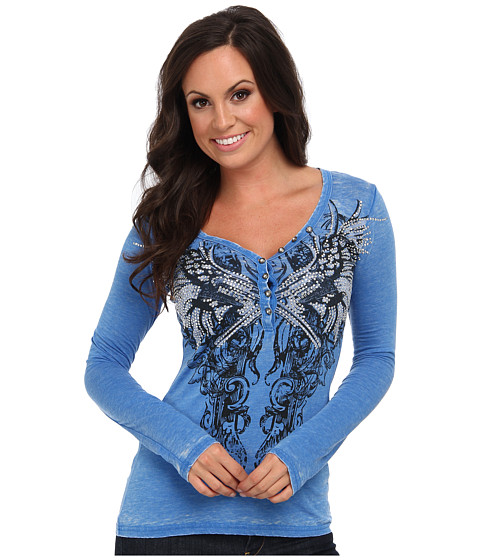 Rock and Roll Cowgirl - L/S Henley (Royal) Women's Long Sleeve Pullover