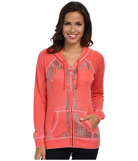 Rock and Roll Cowgirl - L/S Knit w/ Hoodie (Bright Coral) Women's Sweatshirt