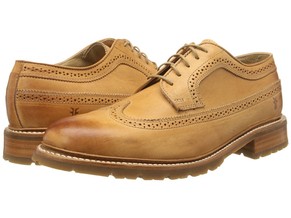 Frye James Lug Wingtip Tan Smooth Full Grain Mens Lace Up Wing Tip Shoes