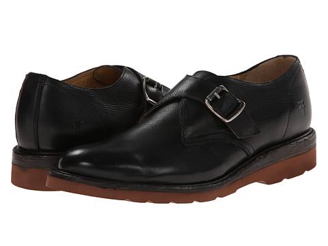 Frye - Jim Wedge Monk (Black Soft Vintage Leather) Men's Slip on Shoes