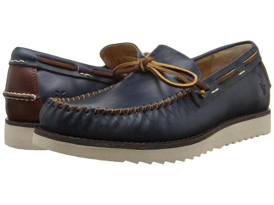 Frye - Nathan Tie (Navy Smooth Full Grain/Stone Antiqued) Men's Lace up casual Shoes