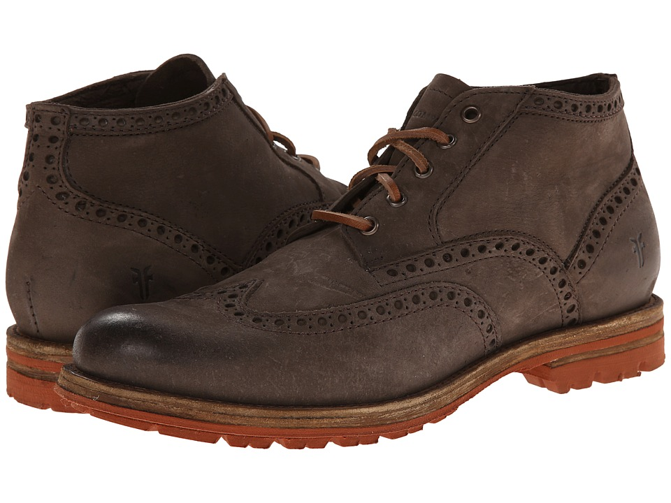Frye - Phillip Lug Wingtip Chukka (Charcoal Textured Full Grain) Men's Lace Up Wing Tip Shoes