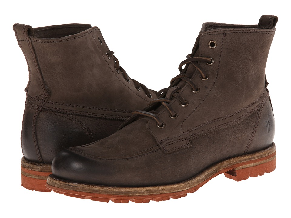 Frye - Phillip Lug Workboot (Charcoal Textured Full Grain) Men's Work Lace-up Boots