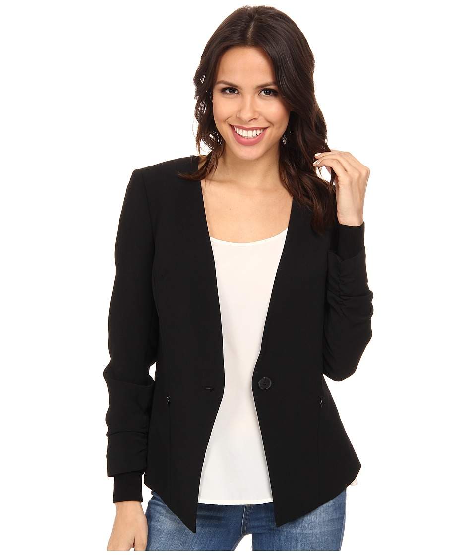 Adrianna Papell - Button Jacket w/ Sweater Trim (Black) Women's Jacket