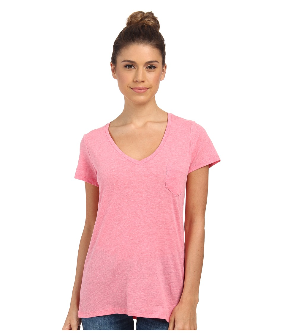 Columbia - Everyday Kenzie V-Neck Tee (Tropic Pink Heather) Women's Short Sleeve Pullover