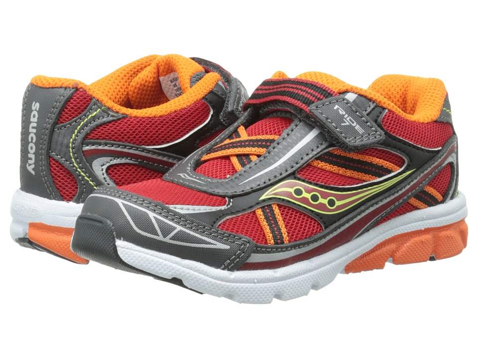 Saucony Kids - Ride 7 (Toddler/Little Kid) (Red/Orange/Grey) Boys Shoes