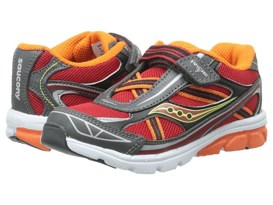 Saucony Kids - Ride 7 (Toddler/Little Kid) (Red/Orange/Grey) Boys Shoes