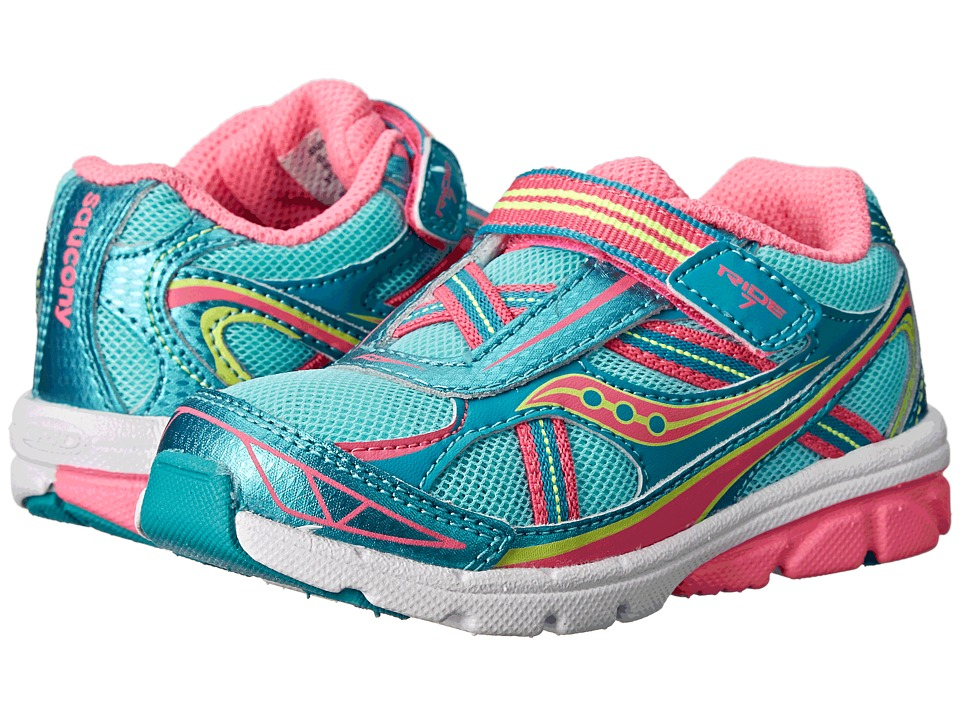 Saucony Kids - Ride 7 (Toddler/Little Kid) (Turquoise/Pink/Citron) Girls Shoes