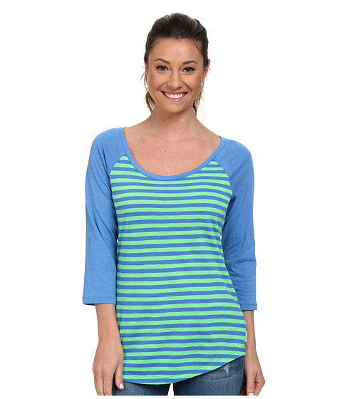 Columbia - Everyday Kenzie 3/4 Sleeve Tee (Chameleon Green Stripe) Women's T Shirt