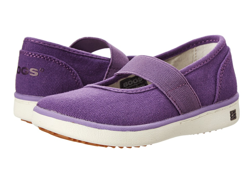 Bogs Kids - Malibu Canvas Mary Jane (Toddler/Little Kid) (Grape) Girls Shoes