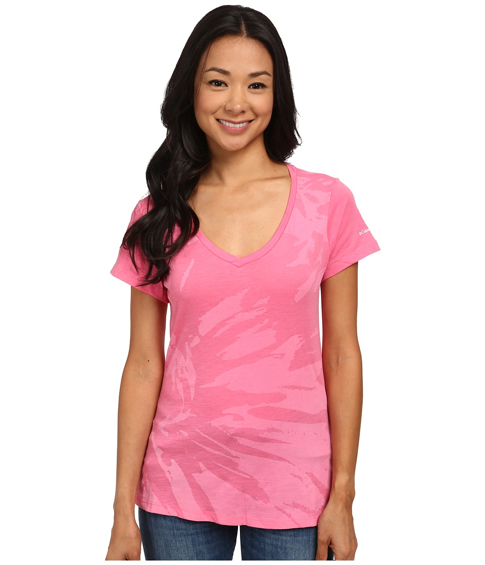 Columbia - Floral V-Neck Tee (Tropic Pink) Women's Short Sleeve Pullover