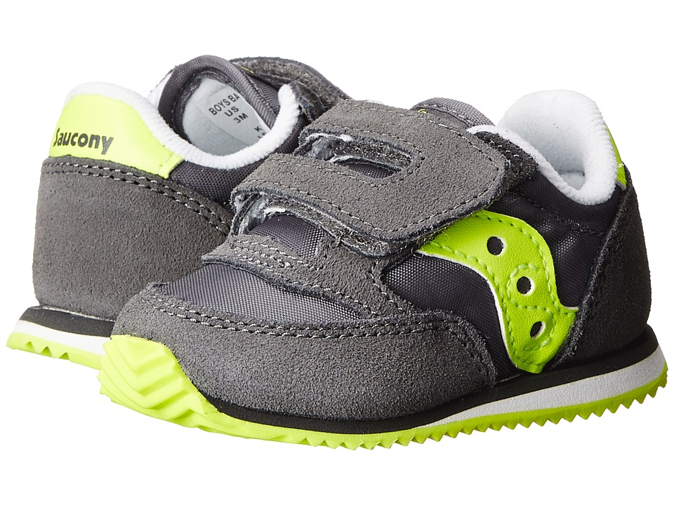 Saucony Kids Baby Jazz Crib (Infant) (Grey/Citron) Boys Shoes