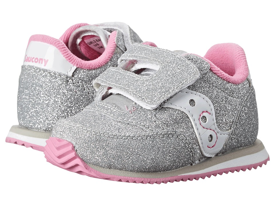 Saucony Kids Baby Jazz Crib (Infant) (Silver/White) Girls Shoes