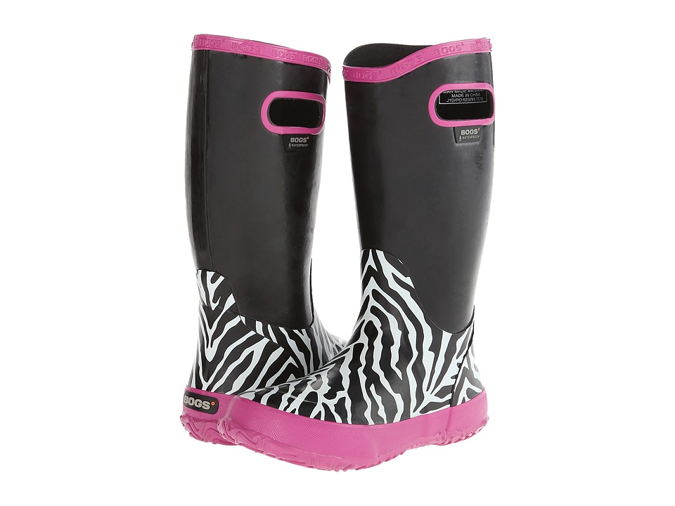 Bogs Kids - Rain Boot Zebra (Toddler/Little Kid/Big Kid) (Black Multi) Girls Shoes