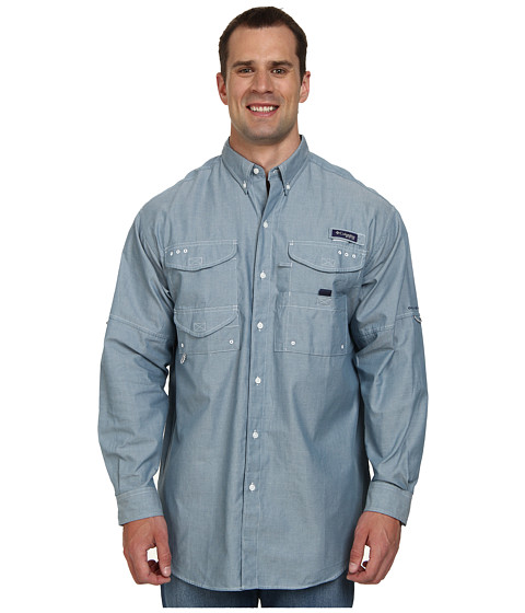 Columbia - Super Bonehead Classic Long Sleeve Shirt - Tall (Blue Heron Oxford) Men's Long Sleeve Button Up