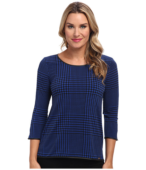 Calvin Klein - 3/4 Sleeve Top w/ Faux Leather Piping (Blue Geo) Women