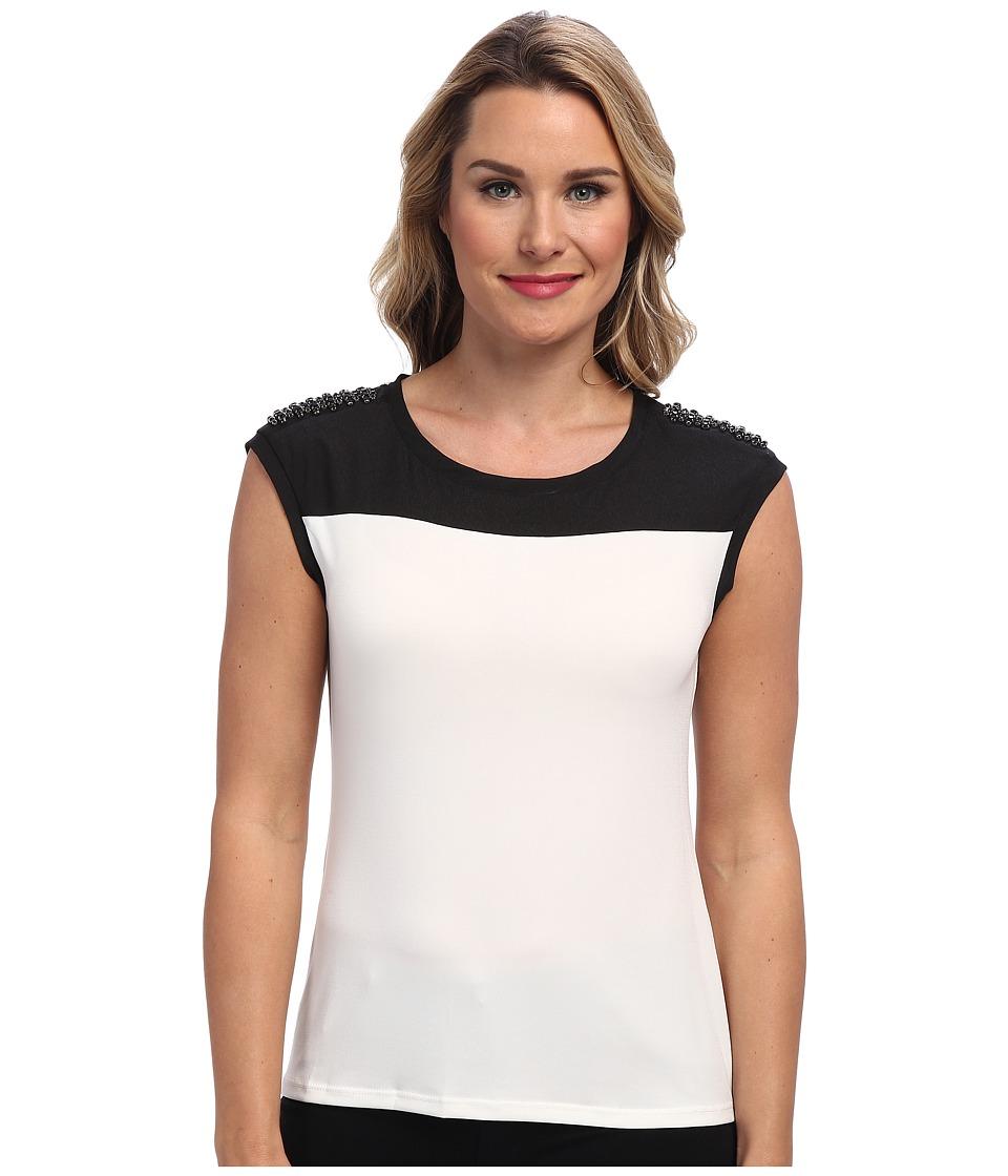 Calvin Klein S/S Top w/ Shoulder Stones (Birch) Women