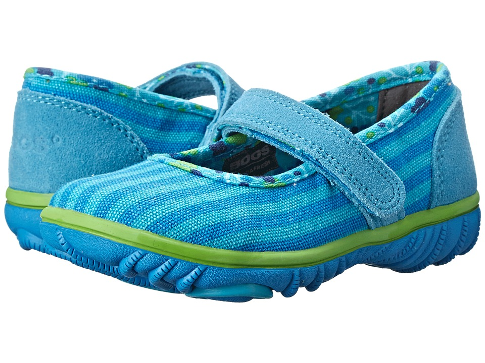 Bogs Kids - Hop Scotch Mary Jane Stripe (Toddler) (Aqua Multi) Girls Shoes