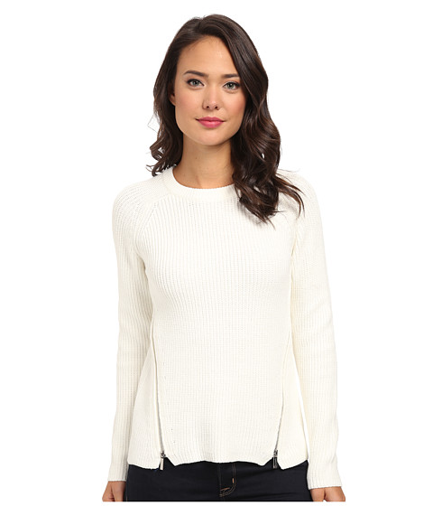 Calvin Klein - Crew Neck w/ Side Zips (Birch) Women
