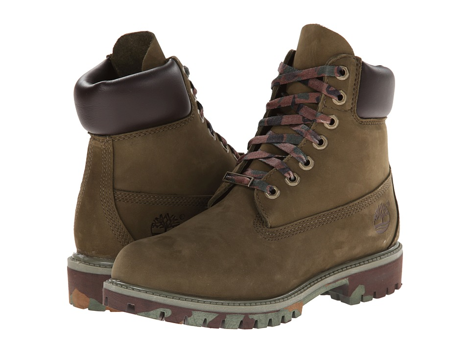 Timberland - Classic 6 Premium Boot (Olive Nubuck w/ Camo Outsole) Men's Lace-up Boots
