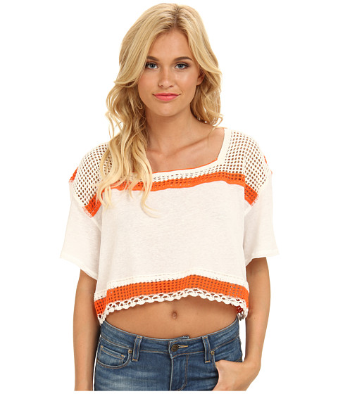 Free People - Bunny Crop Top (Ivory Combo) Women's Short Sleeve Pullover