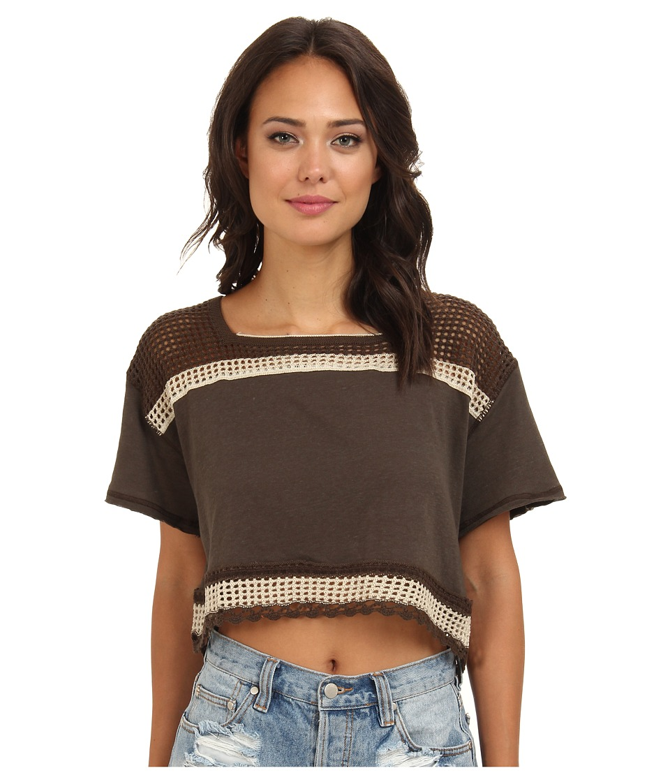 Free People - Bunny Crop Top (Deep Mocha) Women's Short Sleeve Pullover